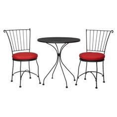 Threshold™ Piazza 3-Piece Wrought Iron Patio Bistro Furniture Set - Red: this is cute too, and cheaper