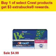 This week at CVS they are running an ECBs deal on select Crest products, including the Crest Be and Crest Sensi-Relief varieties, where you'll earn $3 in ECBs back with purchase. They are also on sale for $4.99. How about a coupon to sweeten the deal:  Crest Be or Crest Sensi Relief $4.99 *Use $1 Off Crest Be Coupon or Crest Sensi-Relief Coupon FINAL PRICE = $3.99 and you'll earn $3 in ECBs to use on a future purchase. (like getting it for $.99 after coupon, sale price and ECBs!)