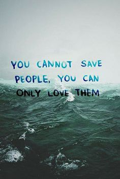 You Cannot Save People, You Can Only Love Them...........(sadly this is true)