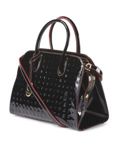 Made In Italy Patent Leather East West Structured Satchel