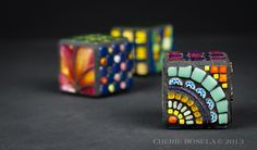 "Multiple Personality Mosaic Cubes - 1.5"" x 1.5"" x 1.5"" - by Cherie Bosela #mosaic #glass #cube"