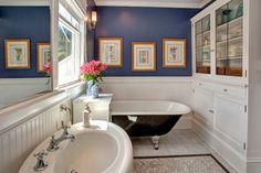 Bellevue House - craftsman - bathroom - seattle - by Kathryn Tegreene Interior Design blue heron by benjamin moore painy