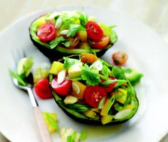 Avocado with bell peppers and tomatoes a. a delicious excuse to eat an entire avocado for dinner I Love Food, Good Food, Yummy Food, Tasty, Raw Food Recipes, Cooking Recipes, Healthy Recipes, Vegetarian Recipes, Drink Recipes