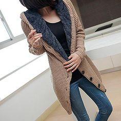 Women's Sweater Long Sleeve Hooded Hoodie Knit Cardigan - USD $ 22.49