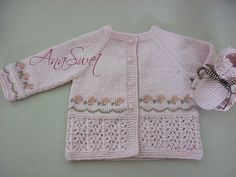 Pink cardigan with embroidery Pattern baby cardigan .Pink cardigan with embroidery Baby Sweater Knitting Pattern, Knitted Baby Cardigan, Knitted Baby Clothes, Pink Cardigan, Baby Knitting Patterns, Baby Patterns, Knitting For Kids, Baby Sweaters, 6 Months