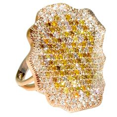 Multicolor Diamond Pave Gold Ring   From a unique collection of vintage more rings at https://www.1stdibs.com/jewelry/rings/more-rings/