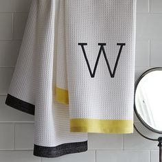 Waffle Stripe Hand Towel #WestElm  Guest towel for gray/yellow pallet.
