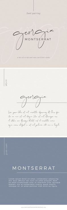Choosing the proper font combination will give you a luxurious, modern, traditional, or feminine feel. Montserrat, one of my favorite san serif fonts. Handwritten Fonts, Typography Fonts, Calligraphy Fonts, Typography Design, Script Fonts, Font Logo, Graphic Design Fonts, Graphisches Design, Logo Design