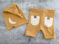 Newborn Photo Prop - Mustard Yellow Newborn Cropped Pants and Moon Sleepy Hat Set - READY TO SHIP by wrenandwillowdesigns on Etsy