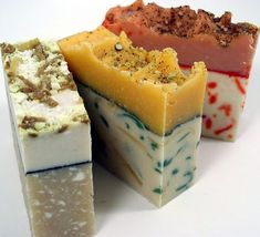 Handmade vegan soap; doesn't it look like someone's geological science fair project?