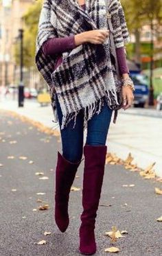 #winter #fashion / oversized tartan scarf + burgundy  I love this idea just throw on a wrap scarf to jazz up a simple outfit instead of a coat. And why do I not have boots like those yet?