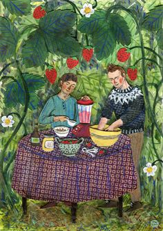 Illustration by Phoebe Wahl of Jonsi from Sigur Ros, and Alex, making their raw vegan strawberry cake.