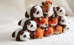 super cute felted pandas and foxes