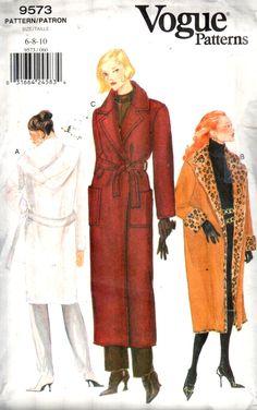 Love this Long Wrap Trench coat, Vogue 9573. EASY Oversized Drop Shoulder Aline Wrap Coat, optional Fur collar/Cuffs or Hood. https://www.etsy.com/listing/500529127/vogue-9573-sz-6-10bust-305-325-easy?ref=listing-shop-header-0