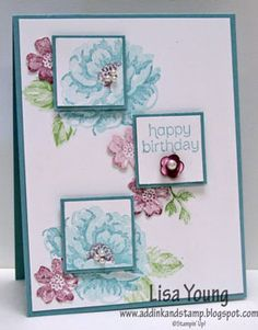 Stampin U! Stipples Blossoms. Add Ink and Stamp: The First Sketch and Color Challenge. Colors: Wild Wasabi, Baja Breeze, Perfect Plum. What a lovely card!