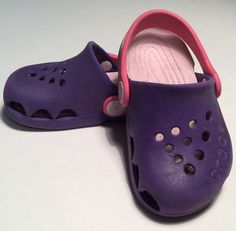 32f25bcbfea8 CROCS Size 6 Toddler Girls Pink Purple Sport Sandals Rubber Water Shoes   Crocs  Sandals