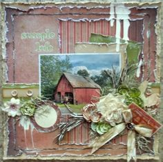 by Jenifer Evans. I love how Jenifer gave a barn feel to this entire layout. The composition draws your eye around the entire page. Scrapbook Journal, Scrapbook Page Layouts, Scrapbook Supplies, Scrapbook Albums, Travel Scrapbook, Scrapbook Cards, Scrapbooking Ideas, Fun Crafts, Diy And Crafts