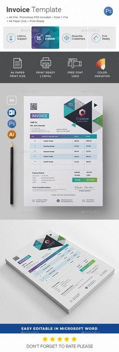 Brief Estimation Invoice Templates InDesign INDD Proposal - Graphic design invoice template indesign