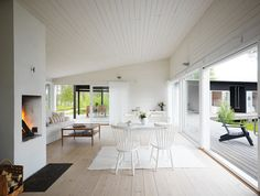 Open-plan living, White timber ceiling + big windows opening to outside. Scandinavian Cottage, Swedish Cottage, Timber Ceiling, White Ceiling, Ceiling Cladding, Timber Flooring, Open Plan Living, My New Room, Interiores Design