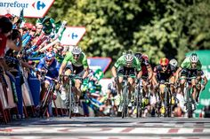 Vuelta a Espana in photos: stages 4 to 6 - Nacer Bouhanni claimed after the stage that John Degenkolb (in the green jersey) had pushed him into the barriers. The complaint was dismissed and Degenkolb's second consecutive stage victory stood.