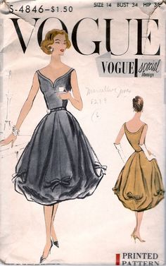 Fabulous Vintage 1957 Vogue Special Design Pattern for a Dress, Pattern # - The Sew-In Label is Included. Printed Pattern One Piece Dress Vestidos Vintage, Vintage Dresses, Vintage Outfits, Vintage Fashion, Vintage Skirt, Vintage Vogue Patterns, Motif Vintage, Patron Vintage, Vintage Girls