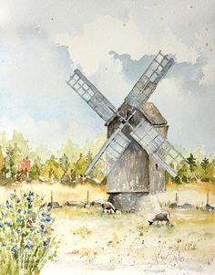 Peppermint Patty's Papercraft: #WorldWatercolorMonth Day 20 : Windmill