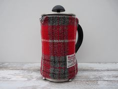 Red Tartan Cafetiere Cover, Coffee Pot Cosy, Harris Tweed, French Press Cosy Cover, Handmade Scottish Gift, Plaid Gift