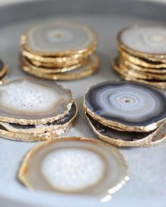 Gold Rim Agate Stone Coaster Accessory