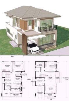 2 Storey House Design, Bungalow House Design, House Front Design, Small House Design, Modern House Design, House Layout Plans, Duplex House Plans, Dream House Plans, House Layouts
