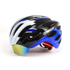 Rainbow 2015 New Fashion Mens Bicycle Cycling Helmet EPS Material Ultralight Mountain Bike Helmet With glasses 32 Air Vents,XP009-Red Black