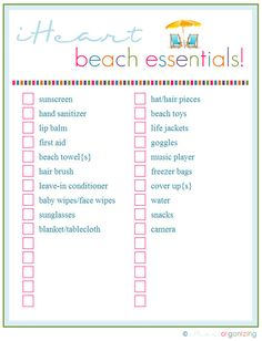 Printable Beach Trip Checklist & nine other great printables