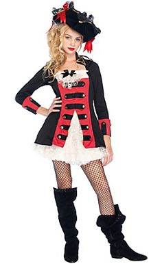 Teen Girls Pretty Pirate Captain Costume
