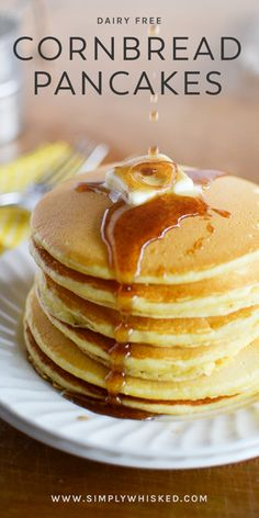 Classic homemade pancakes get a flavorful twist with these dairy free cornbread pancakes topped with homemade cinnamon syrup. Cornmeal Pancakes, Crepes And Waffles, Homemade Pancakes, Pancakes And Waffles, Dutch Pancakes, Breakfast Dishes, Breakfast Recipes, Pancake Recipes, Breakfast Club