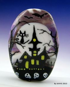 """The Monsters Mansion"" Bykayo Handmade Haunted Cat Lampwork Glass Focal Bead SRA 