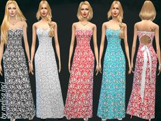 The Sims Resource: Lace Maxi Gown dress by MelisaInci • Sims 4 Downloads