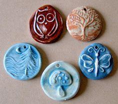 5 Handmade ceramic beads  Woodland Bead Assortment by beadfreaky