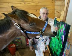 Metro Meteor, also known as the painting horse, has come a long way since bad knees ended his racing career. Art by the former race horse is reproduced on products such as decorative pillows, wall decor and fashion totes. To date, the sale of Metro's work has resulted in donations of almost $60,000 to help other horses' rehabilitation via New Vocations Racehorse Adoption Program.