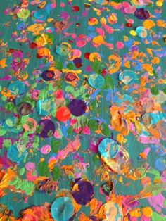 Spring Preschool Activities: Collaborative  Reggio-Inspired, Mixed-Media Impressionism Art on Canvas (Painting With Dinosaur Figurine Toys, Acrylics, and Tissue.)