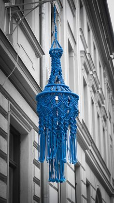 Macrame street lamp in Berlin by r. egeriis, via Flickr It says knitted but if you know macrame you can see every knot we make.