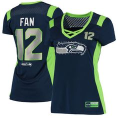 Majestic 12th Fan Seattle Seahawks Women's College Navy Draft Him Name &…