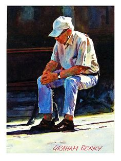 """Taking five by Graham Berry Watercolor ~ 11"""" x 8"""""""