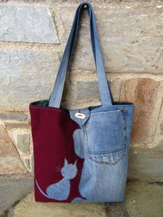 Upcycled jean and fabric tote bag; could mirror-image a fabric cat onto the denim half of the bag ...