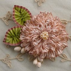 French Picot Ribbon Flowers With Antique Velveteen Leaves