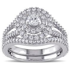 Miadora Signature Collection 14k White Gold 1 1/5ct TDW Diamond Double Halo Bridal Ring Set (G-H,I1-I2) (Size 5), Women's, White G-H