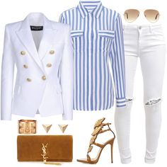 Untitled #468 by fashionkill21 on Polyvore featuring polyvore fashion style Equipment Balmain FiveUnits Giuseppe Zanotti Yves Saint Laurent Ileana Makri Ray-Ban Hermès