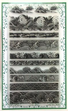 Clear Stamps Lot Waves Borders Vintage Japan Engraving FLONZ 005 in Crafts, Stamping & Embossing, Stamps Japanese Waves, Japanese Art, Japanese Wave Tattoos, Japanese Sleeve, Tatuaje Cover Up, Bracelete Tattoo, Wave Drawing, Marquesan Tattoos, Maori Tattoos