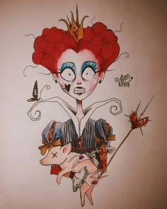 Red Queen Tim Burton style drawing
