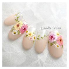 Flower Nail Designs, Gel Designs, Flower Nail Art, Nail Art Designs, Spring Nail Art, Spring Nails, Summer Nails, Mani Pedi, Manicure