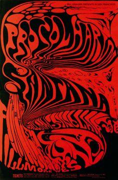Poster for Procol Harum, Santana, Salloom-Sinclair, Octuber 1968 - November 1968 at Fillmore West (San Francisco, CA). Art by Lee Conklin. Rock Posters, Hippie Posters, Art Posters, Psychedelic Rock, Psychedelic Posters, Psychedelic Experience, Vintage Concert Posters, Vintage Posters, Procol Harum