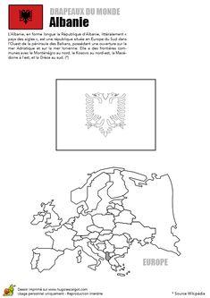A colorier, un dessin du drapeau de l'Albanie